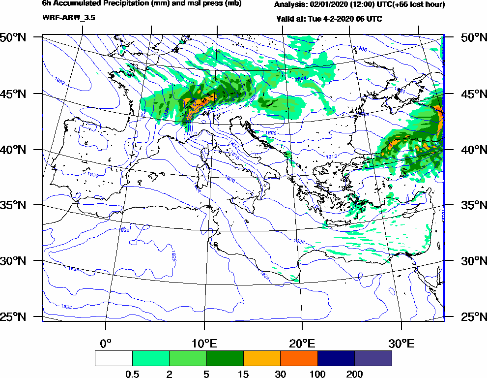 6h Accumulated Precipitation (mm) and msl press (mb) - 2020-02-04 00:00