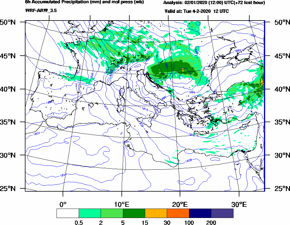 6h Accumulated Precipitation (mm) and msl press (mb) - 2020-02-04 06:00