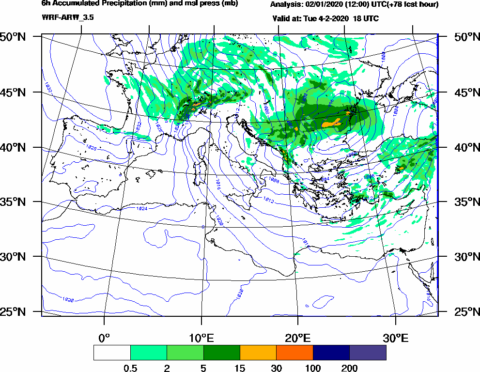 6h Accumulated Precipitation (mm) and msl press (mb) - 2020-02-04 12:00