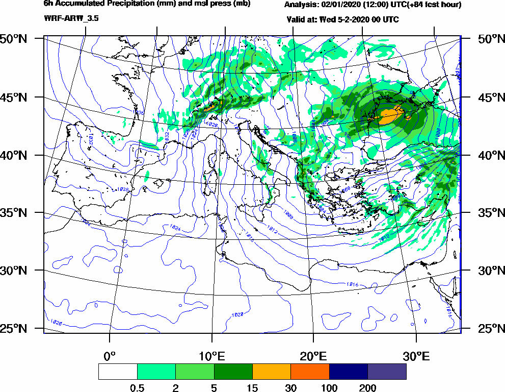 6h Accumulated Precipitation (mm) and msl press (mb) - 2020-02-04 18:00