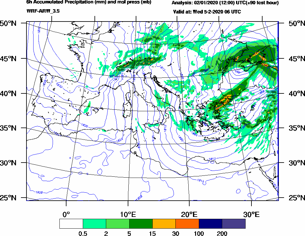 6h Accumulated Precipitation (mm) and msl press (mb) - 2020-02-05 00:00