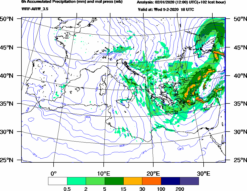 6h Accumulated Precipitation (mm) and msl press (mb) - 2020-02-05 12:00