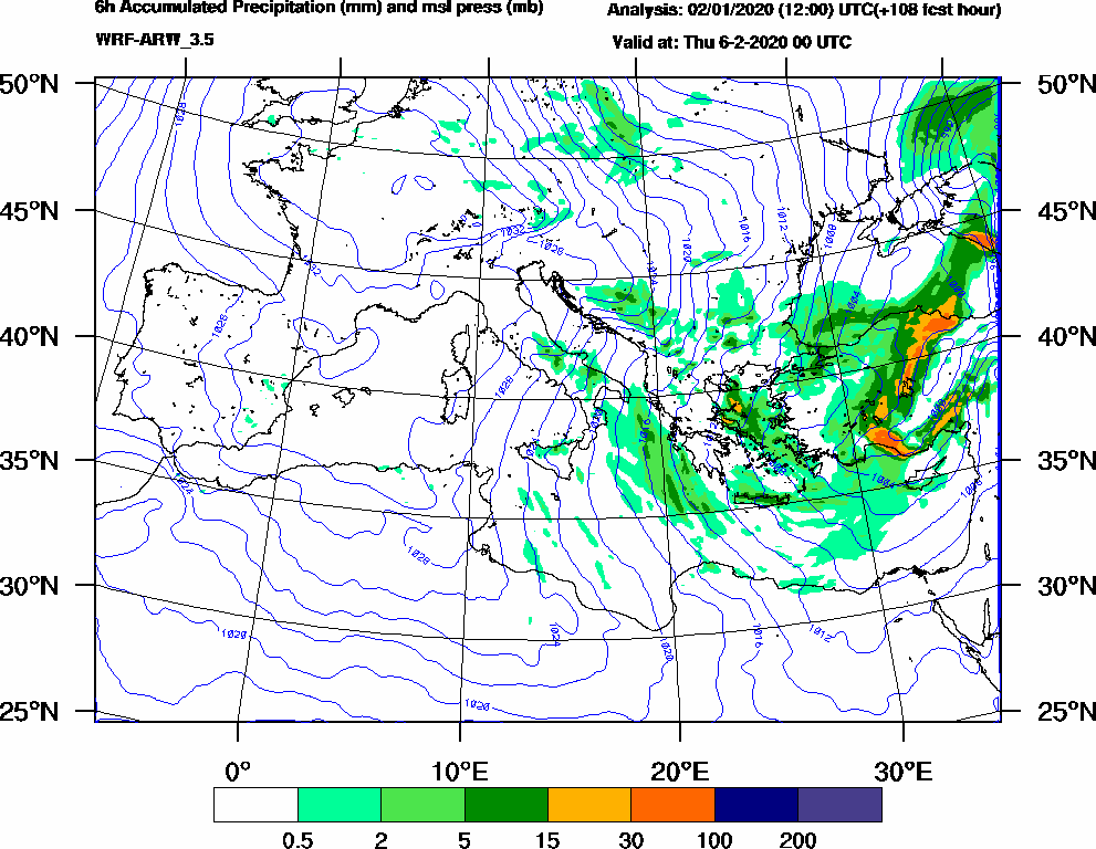 6h Accumulated Precipitation (mm) and msl press (mb) - 2020-02-05 18:00