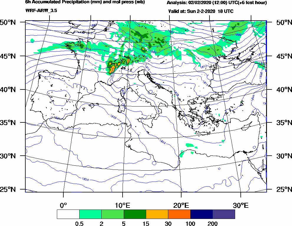 6h Accumulated Precipitation (mm) and msl press (mb) - 2020-02-02 12:00