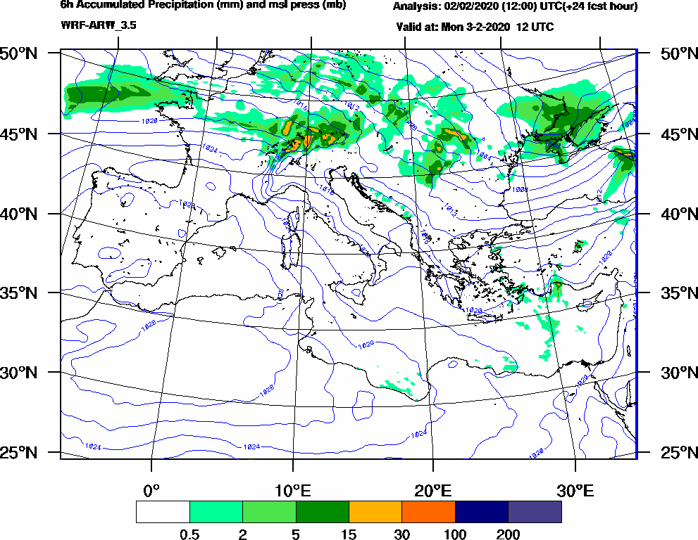 6h Accumulated Precipitation (mm) and msl press (mb) - 2020-02-03 06:00