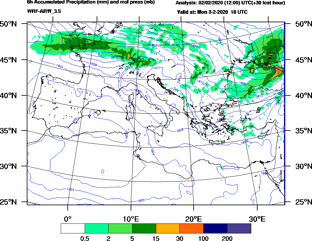 6h Accumulated Precipitation (mm) and msl press (mb) - 2020-02-03 12:00