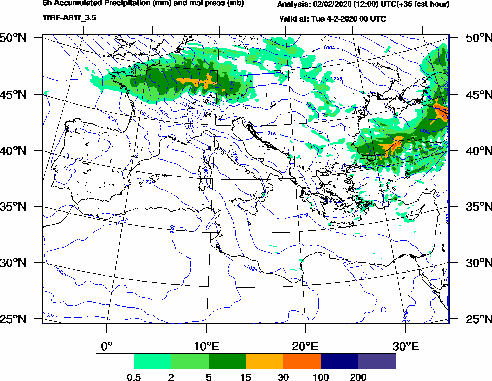 6h Accumulated Precipitation (mm) and msl press (mb) - 2020-02-03 18:00
