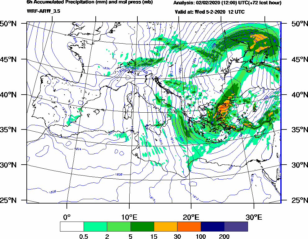 6h Accumulated Precipitation (mm) and msl press (mb) - 2020-02-05 06:00