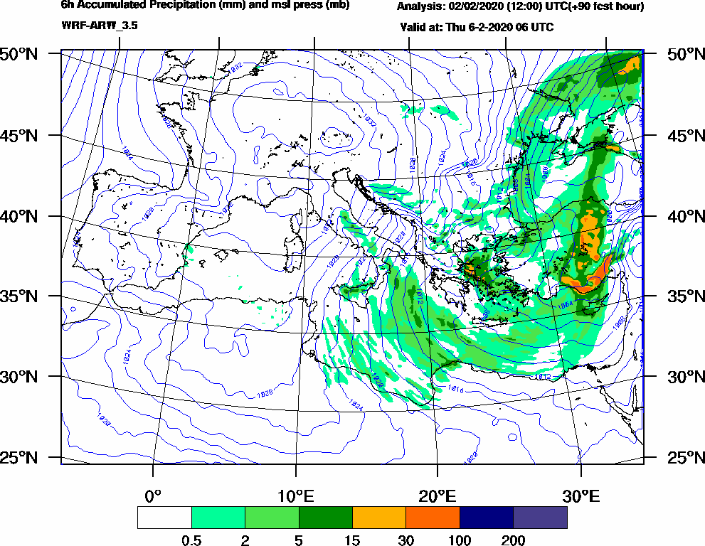 6h Accumulated Precipitation (mm) and msl press (mb) - 2020-02-06 00:00