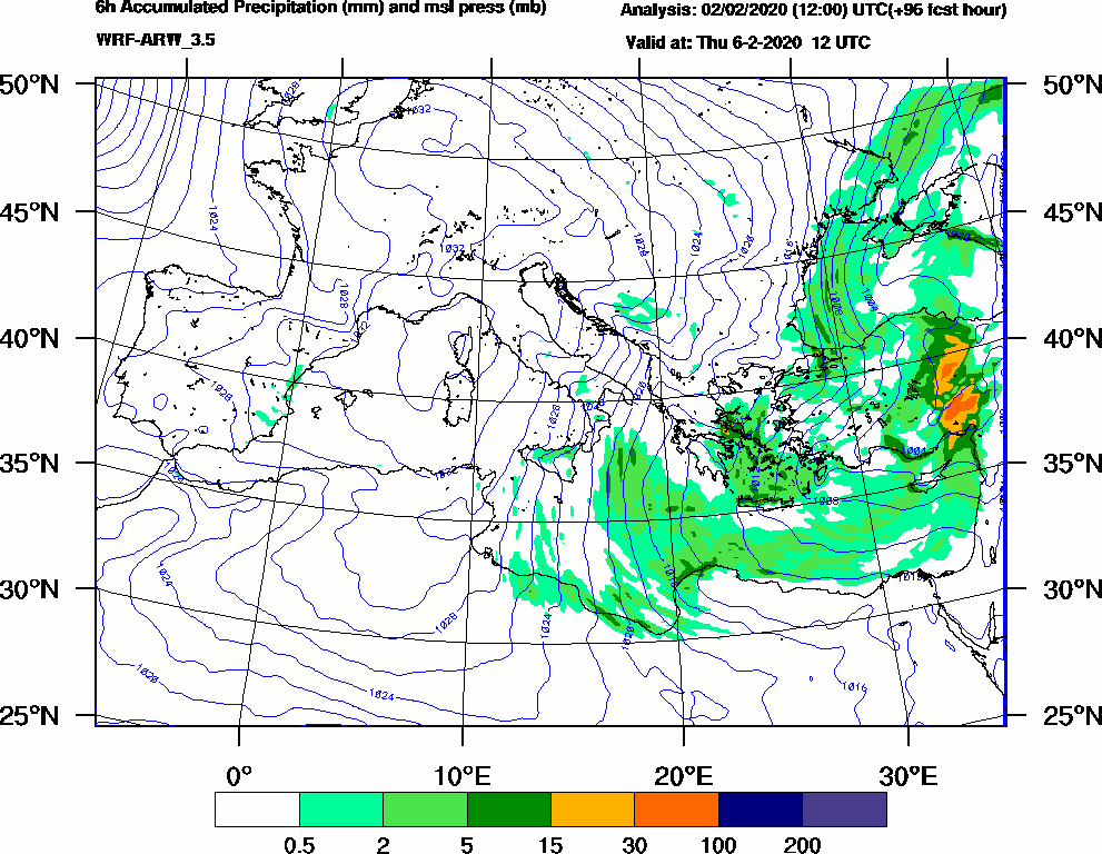 6h Accumulated Precipitation (mm) and msl press (mb) - 2020-02-06 06:00