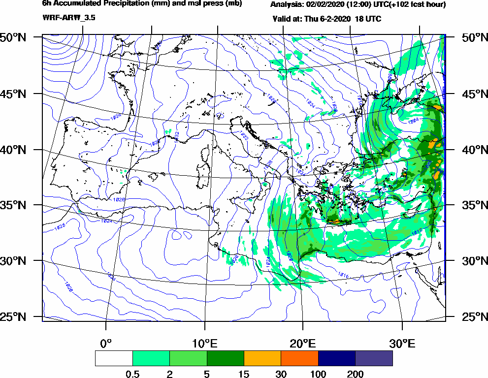 6h Accumulated Precipitation (mm) and msl press (mb) - 2020-02-06 12:00