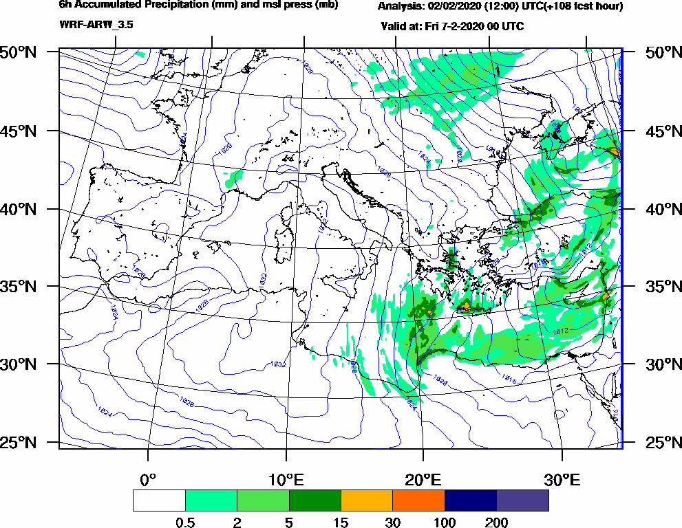 6h Accumulated Precipitation (mm) and msl press (mb) - 2020-02-06 18:00