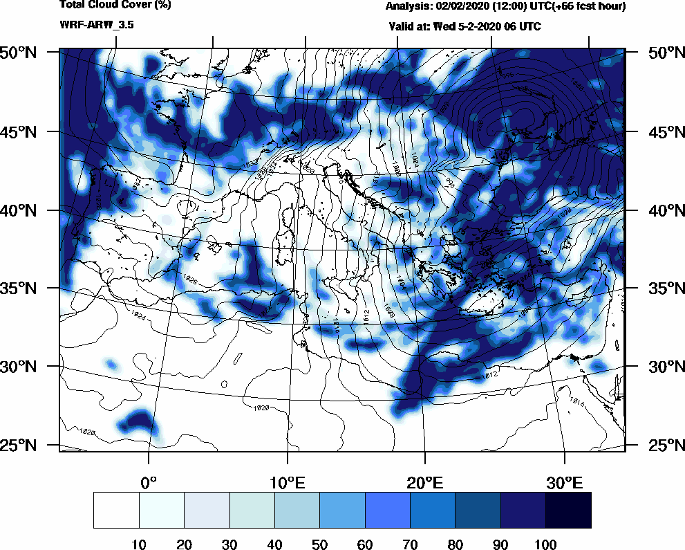 Total cloud cover (%) - 2020-02-05 00:00