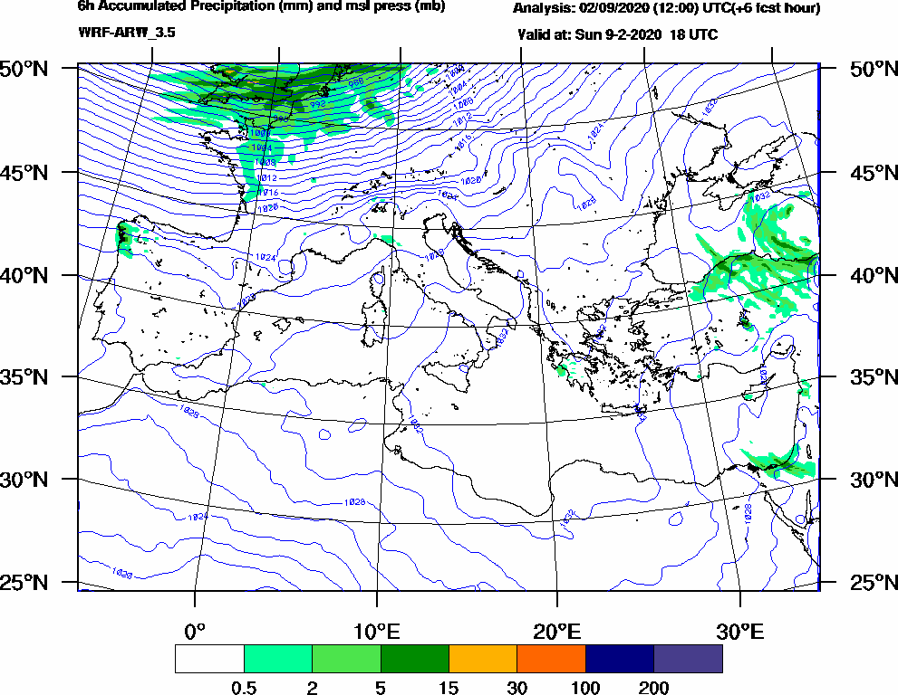 6h Accumulated Precipitation (mm) and msl press (mb) - 2020-02-09 12:00