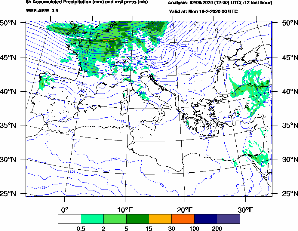 6h Accumulated Precipitation (mm) and msl press (mb) - 2020-02-09 18:00