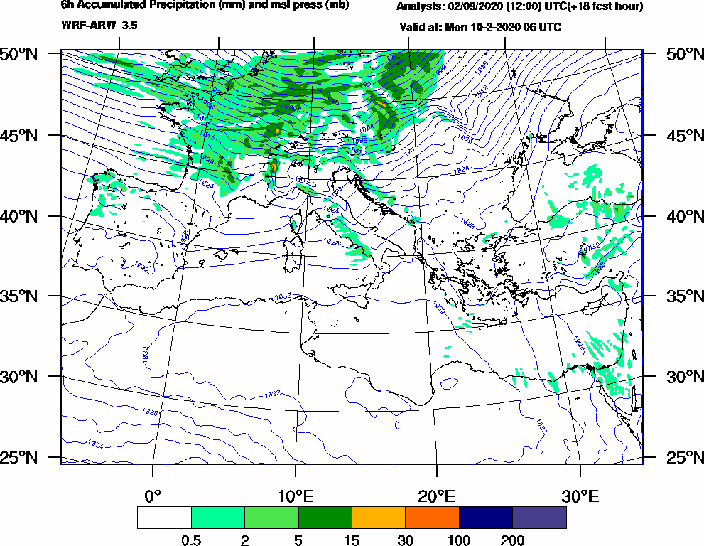 6h Accumulated Precipitation (mm) and msl press (mb) - 2020-02-10 00:00