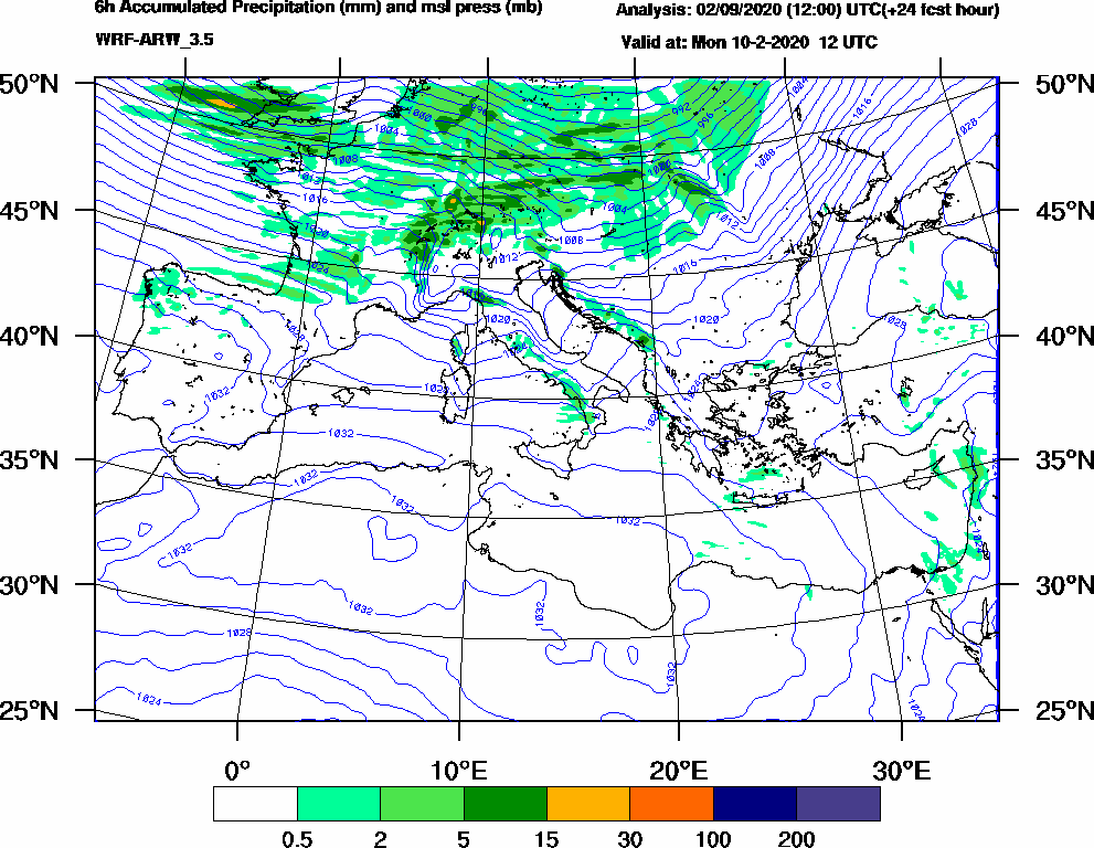 6h Accumulated Precipitation (mm) and msl press (mb) - 2020-02-10 06:00