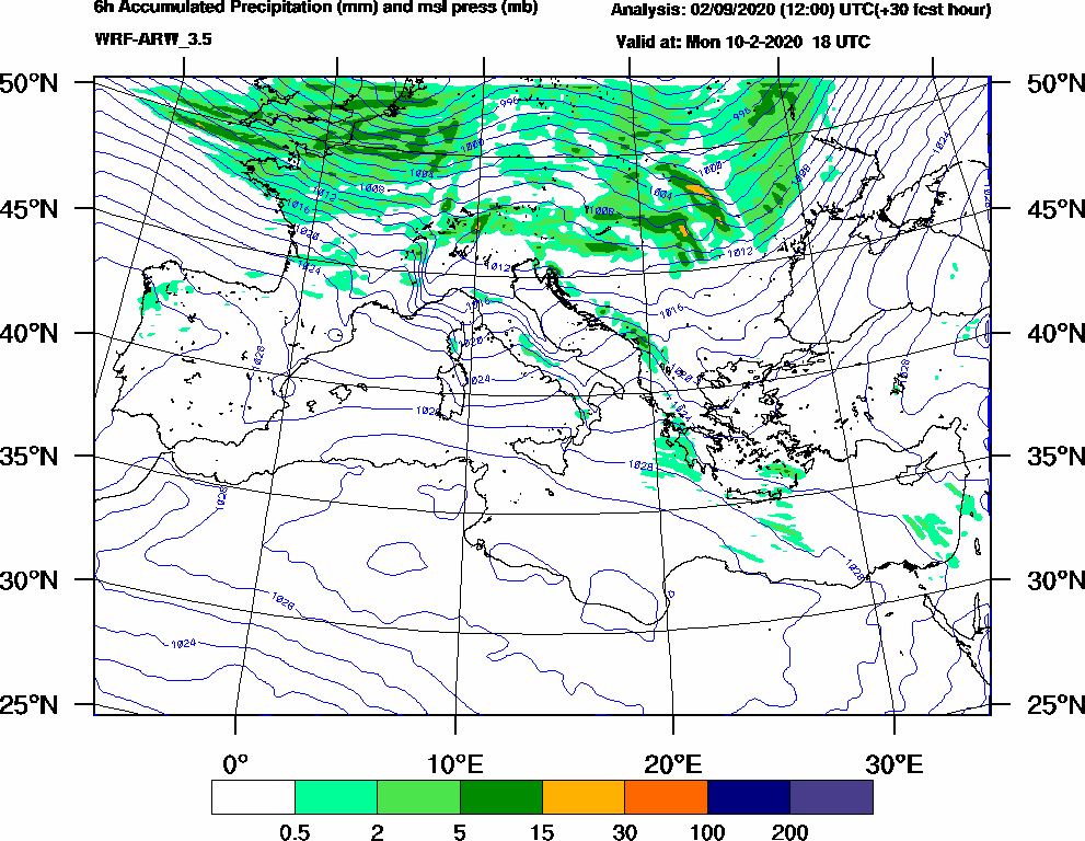 6h Accumulated Precipitation (mm) and msl press (mb) - 2020-02-10 12:00