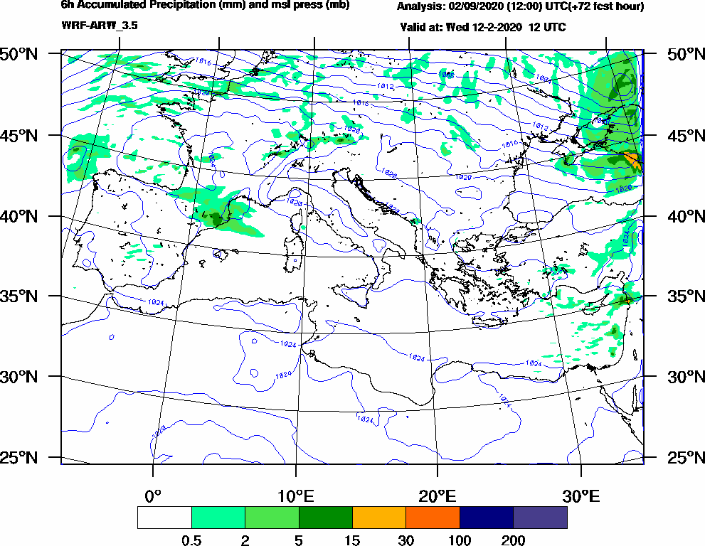 6h Accumulated Precipitation (mm) and msl press (mb) - 2020-02-12 06:00