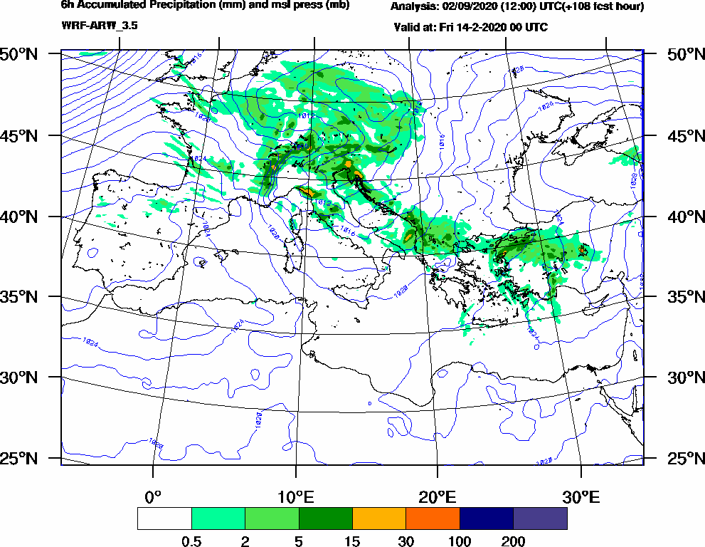 6h Accumulated Precipitation (mm) and msl press (mb) - 2020-02-13 18:00