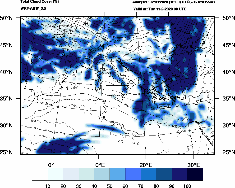 Total cloud cover (%) - 2020-02-10 18:00