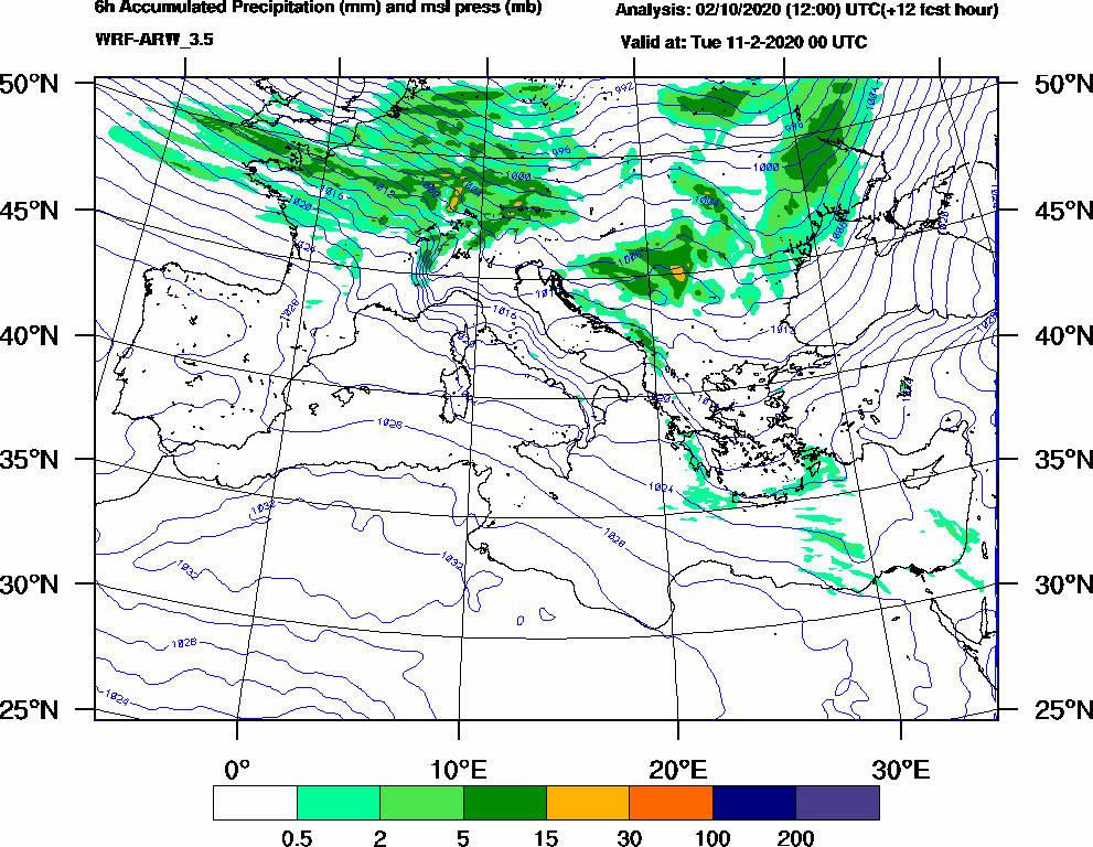 6h Accumulated Precipitation (mm) and msl press (mb) - 2020-02-10 18:00