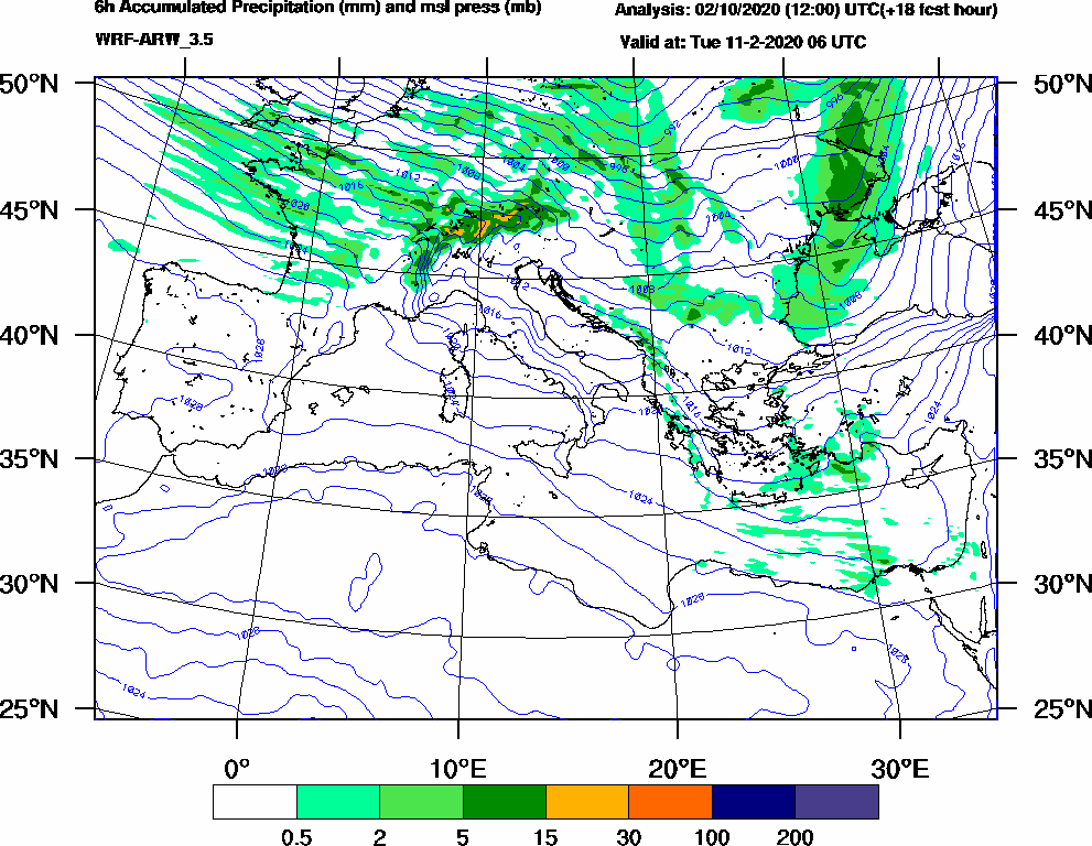 6h Accumulated Precipitation (mm) and msl press (mb) - 2020-02-11 00:00