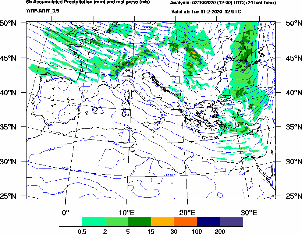 6h Accumulated Precipitation (mm) and msl press (mb) - 2020-02-11 06:00