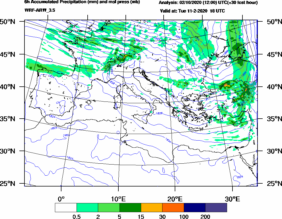 6h Accumulated Precipitation (mm) and msl press (mb) - 2020-02-11 12:00