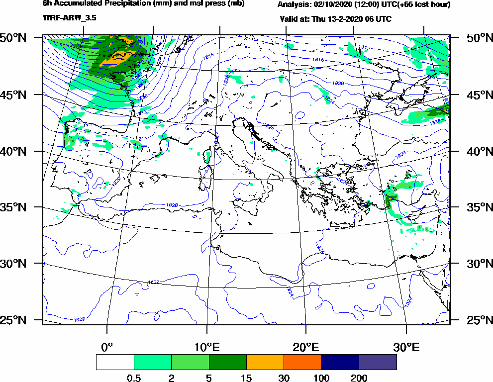 6h Accumulated Precipitation (mm) and msl press (mb) - 2020-02-13 00:00