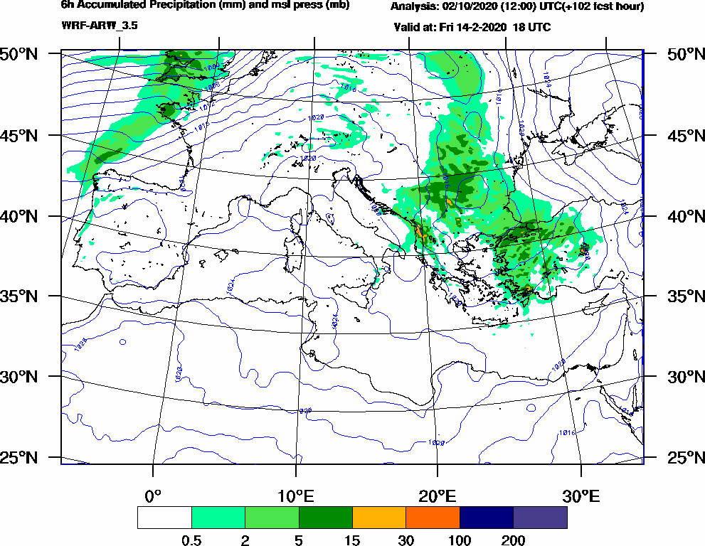 6h Accumulated Precipitation (mm) and msl press (mb) - 2020-02-14 12:00