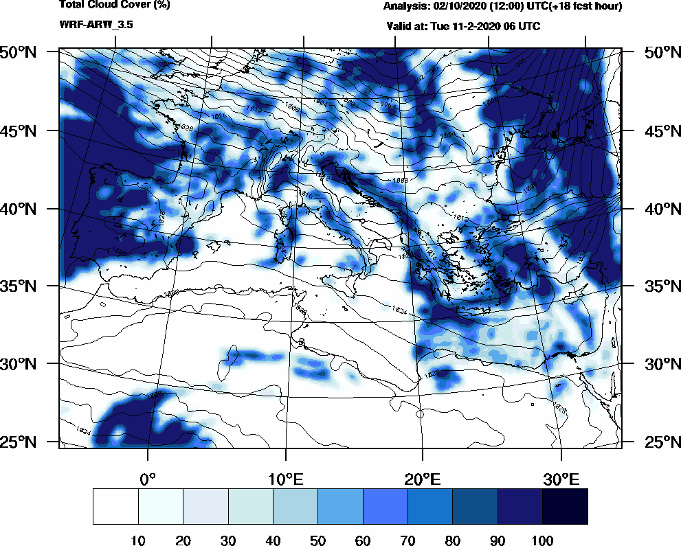Total cloud cover (%) - 2020-02-11 00:00