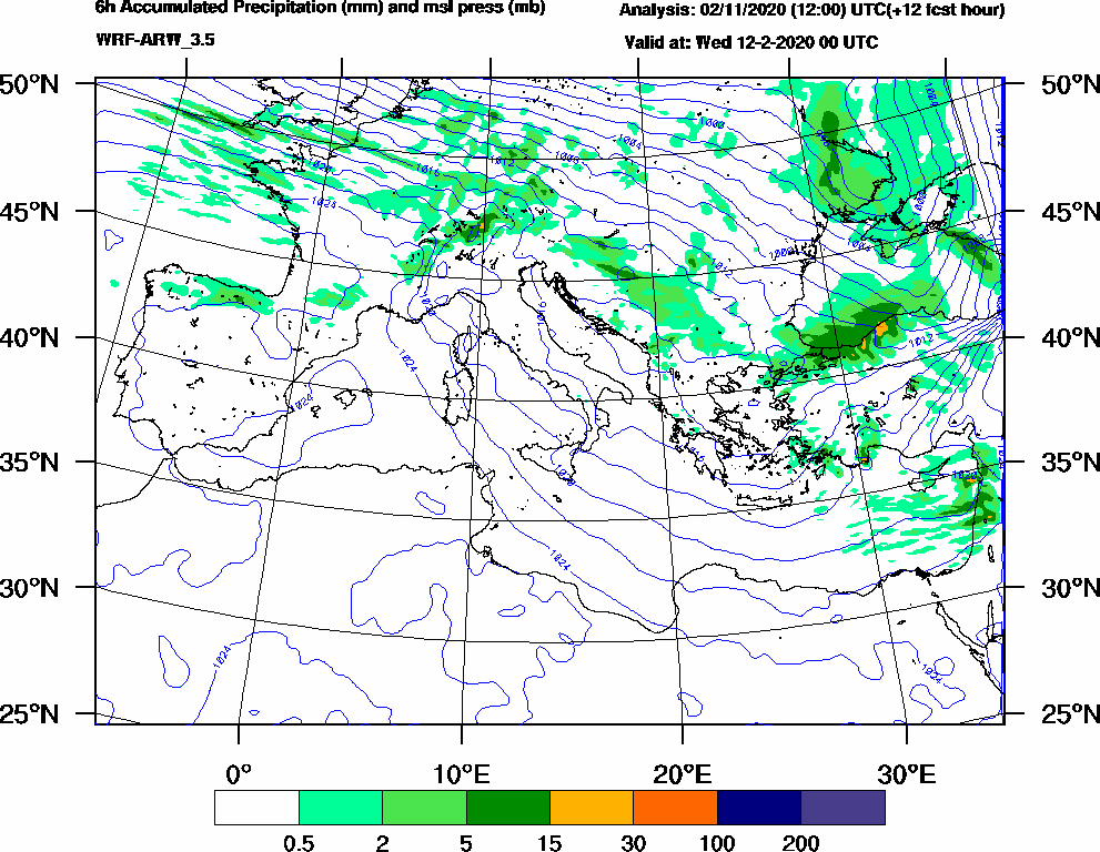 6h Accumulated Precipitation (mm) and msl press (mb) - 2020-02-11 18:00