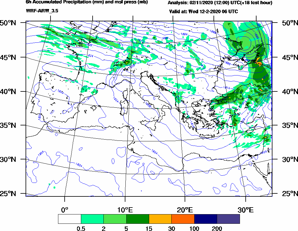 6h Accumulated Precipitation (mm) and msl press (mb) - 2020-02-12 00:00