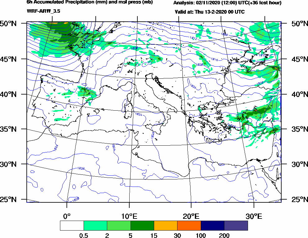 6h Accumulated Precipitation (mm) and msl press (mb) - 2020-02-12 18:00