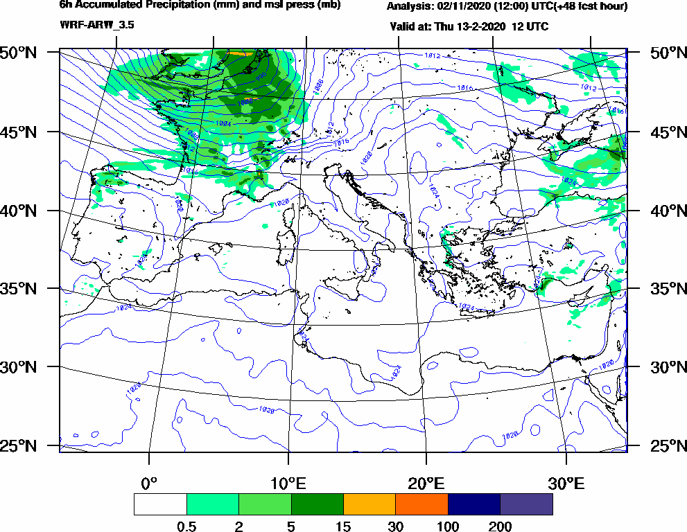 6h Accumulated Precipitation (mm) and msl press (mb) - 2020-02-13 06:00