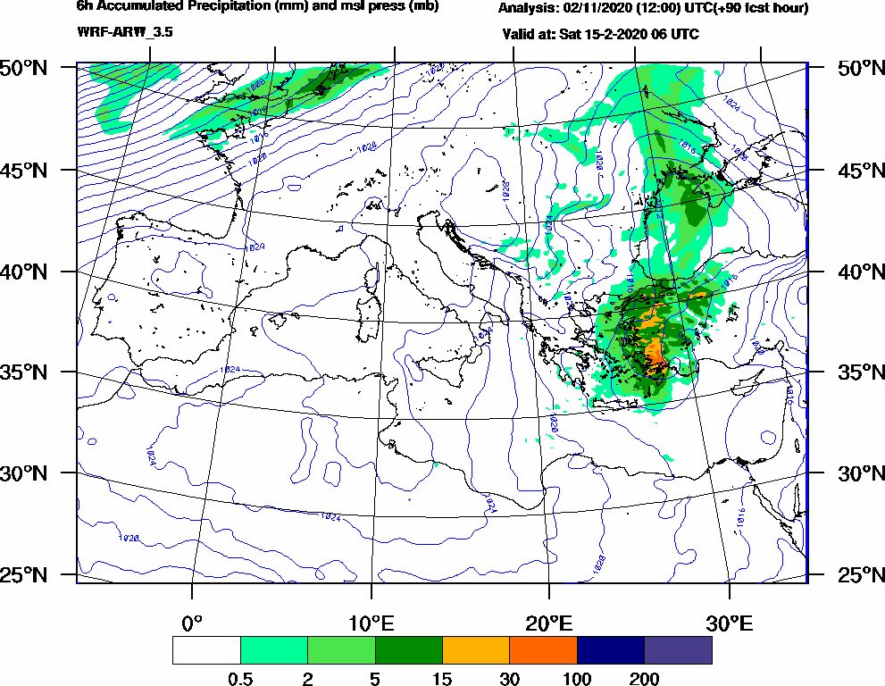 6h Accumulated Precipitation (mm) and msl press (mb) - 2020-02-15 00:00