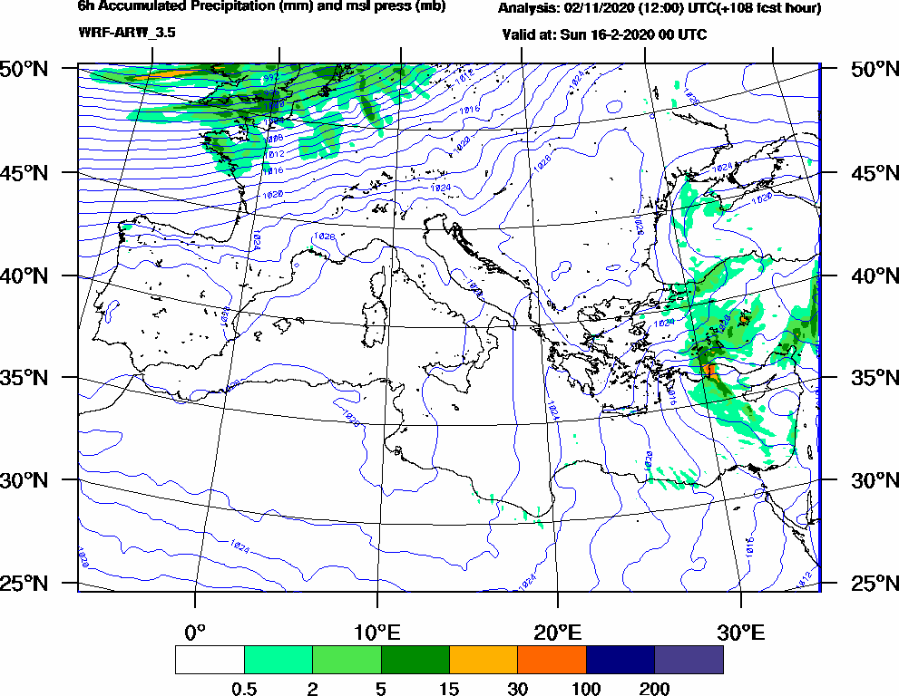 6h Accumulated Precipitation (mm) and msl press (mb) - 2020-02-15 18:00