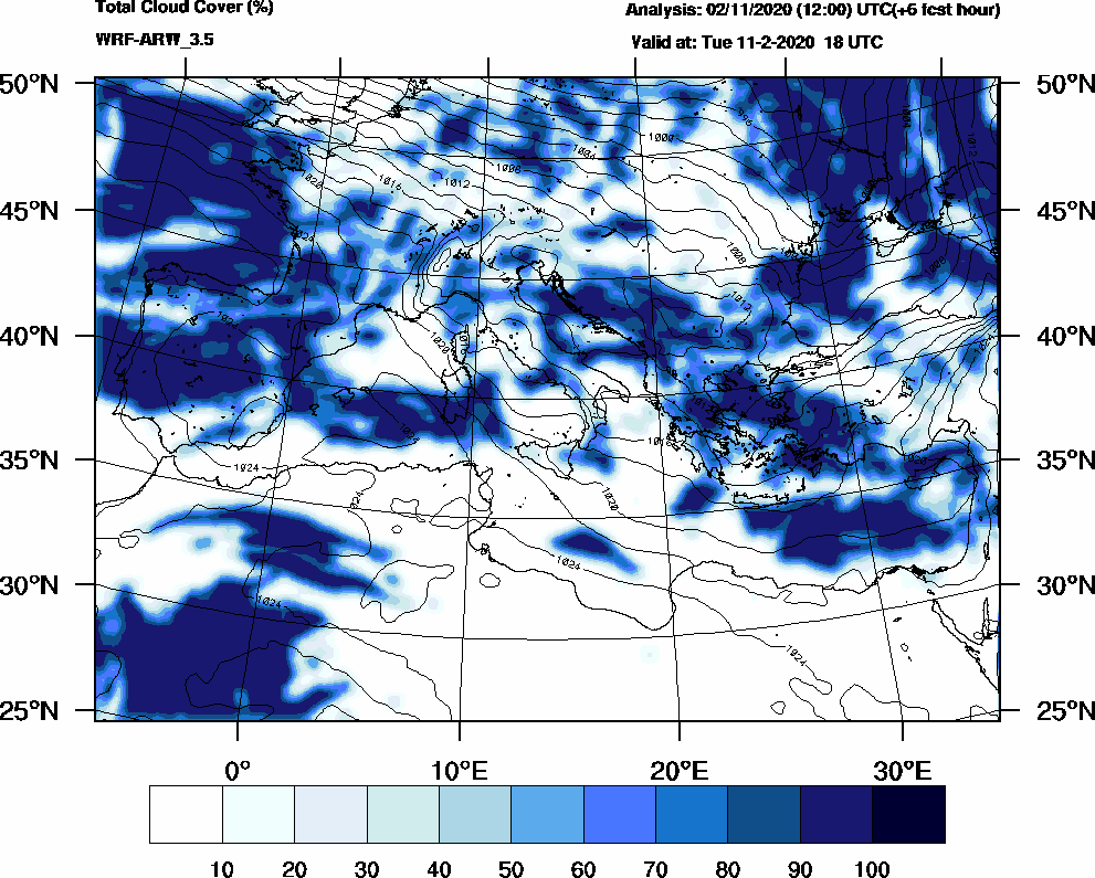 Total cloud cover (%) - 2020-02-11 12:00