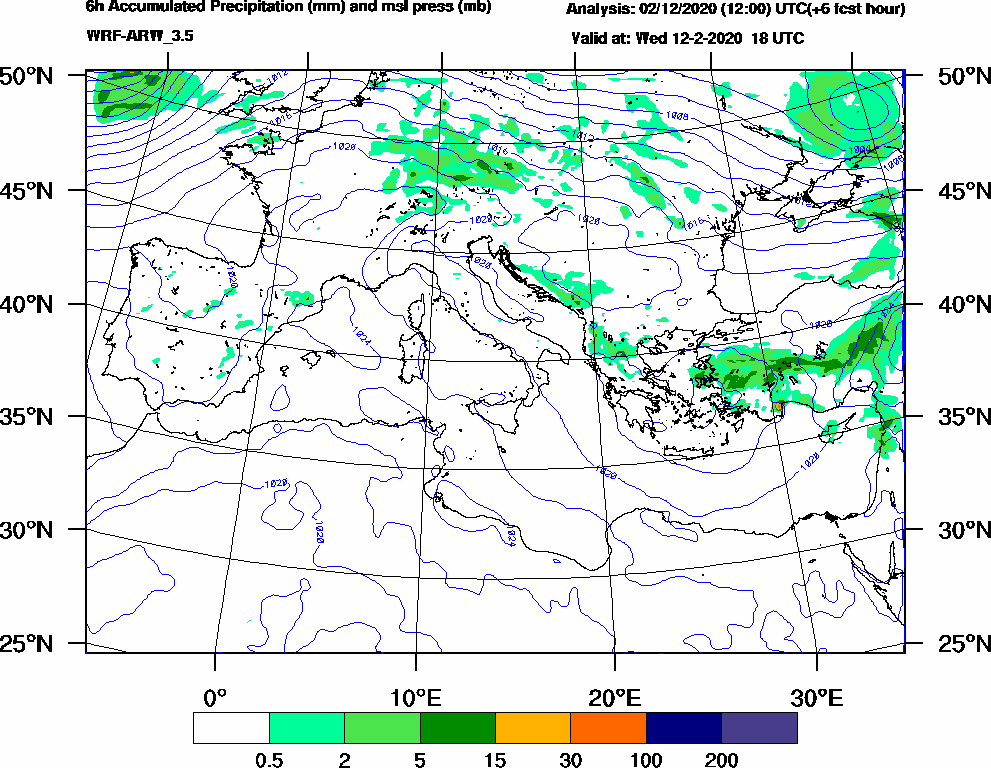 6h Accumulated Precipitation (mm) and msl press (mb) - 2020-02-12 12:00