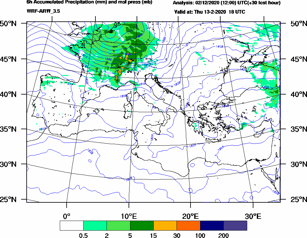 6h Accumulated Precipitation (mm) and msl press (mb) - 2020-02-13 12:00