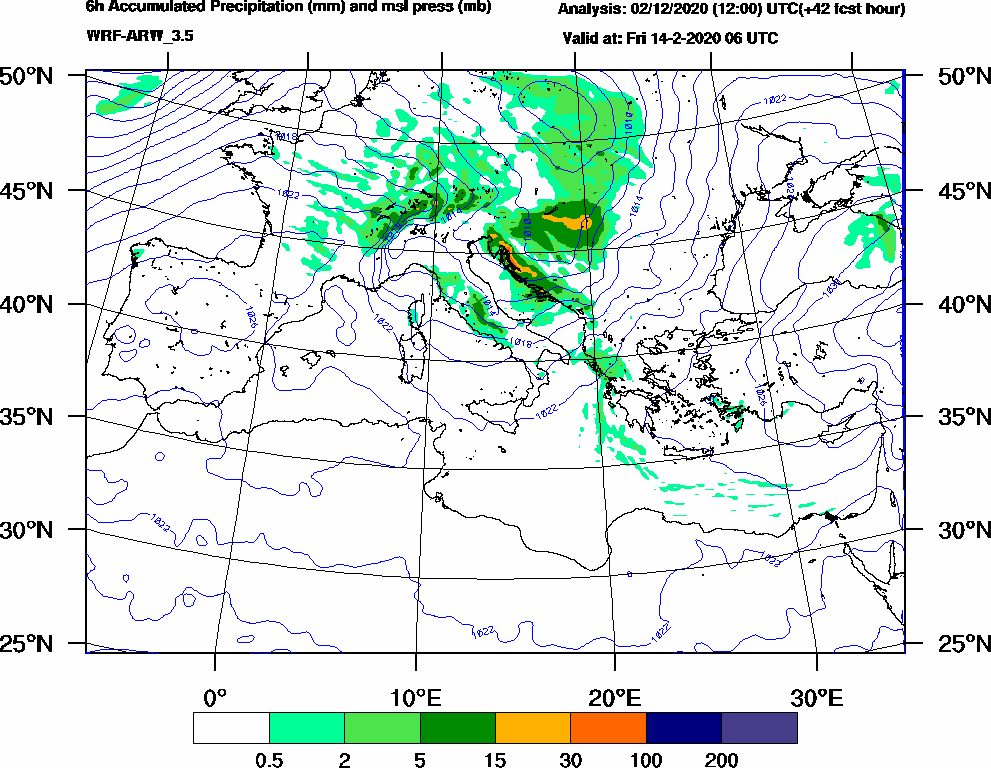 6h Accumulated Precipitation (mm) and msl press (mb) - 2020-02-14 00:00