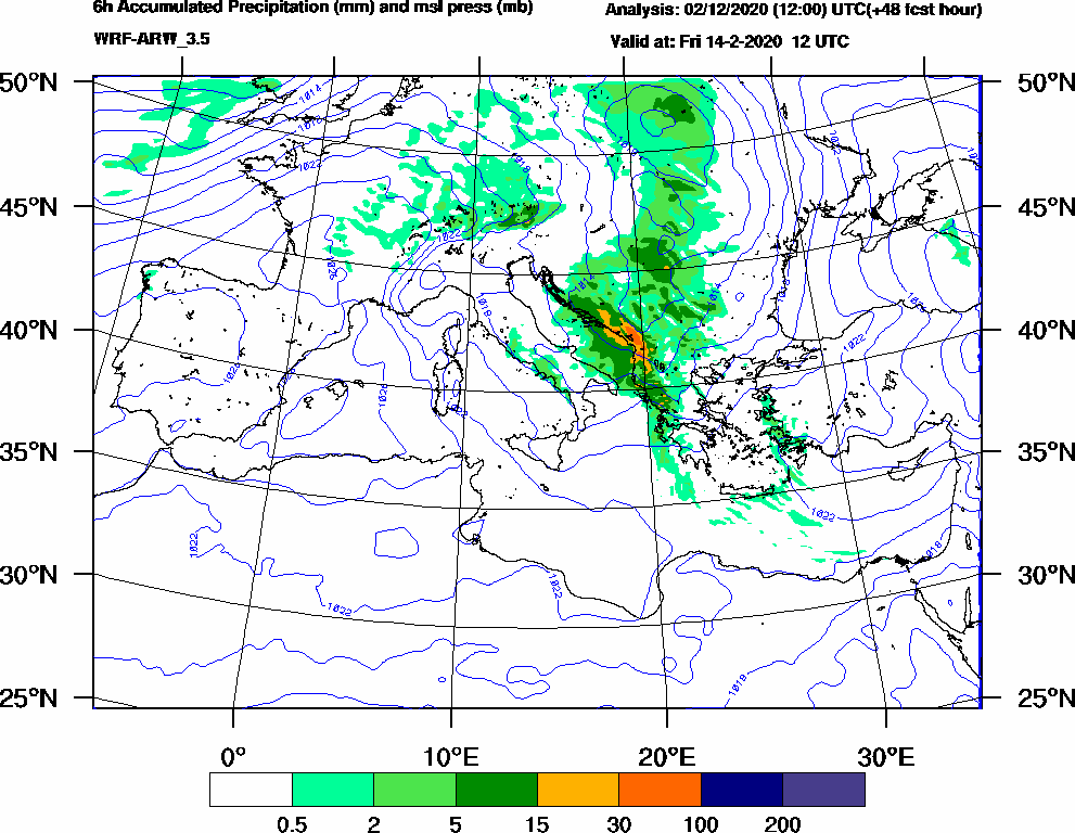 6h Accumulated Precipitation (mm) and msl press (mb) - 2020-02-14 06:00