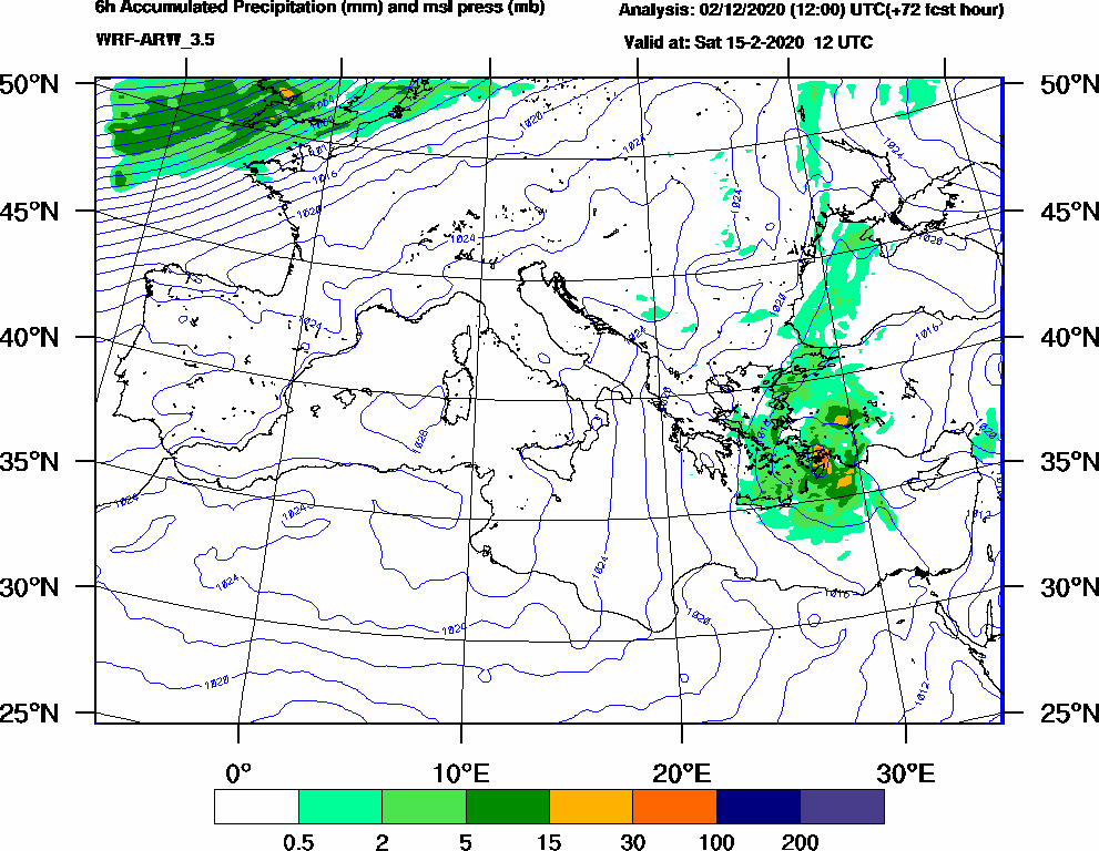 6h Accumulated Precipitation (mm) and msl press (mb) - 2020-02-15 06:00
