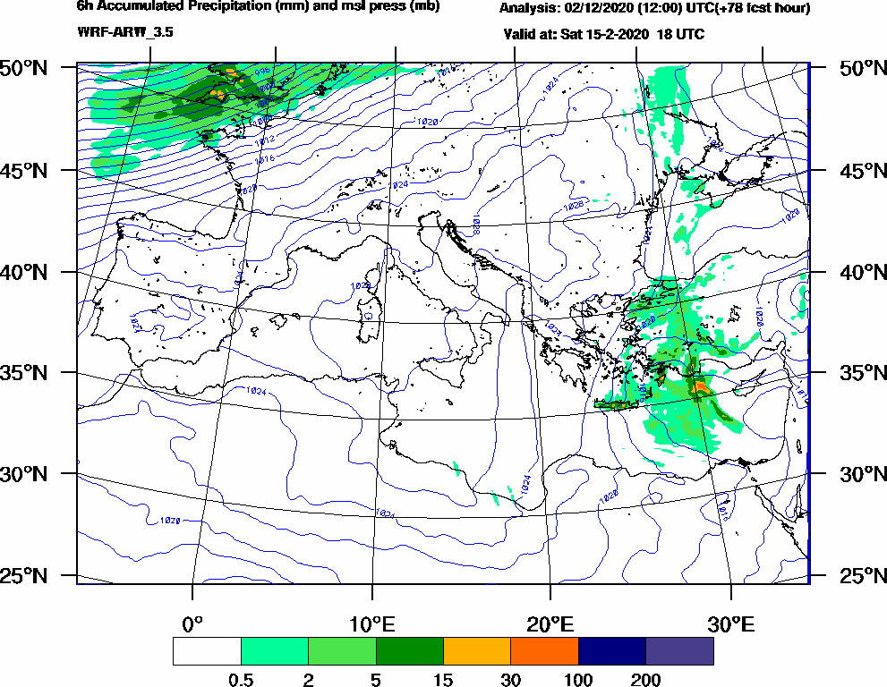 6h Accumulated Precipitation (mm) and msl press (mb) - 2020-02-15 12:00