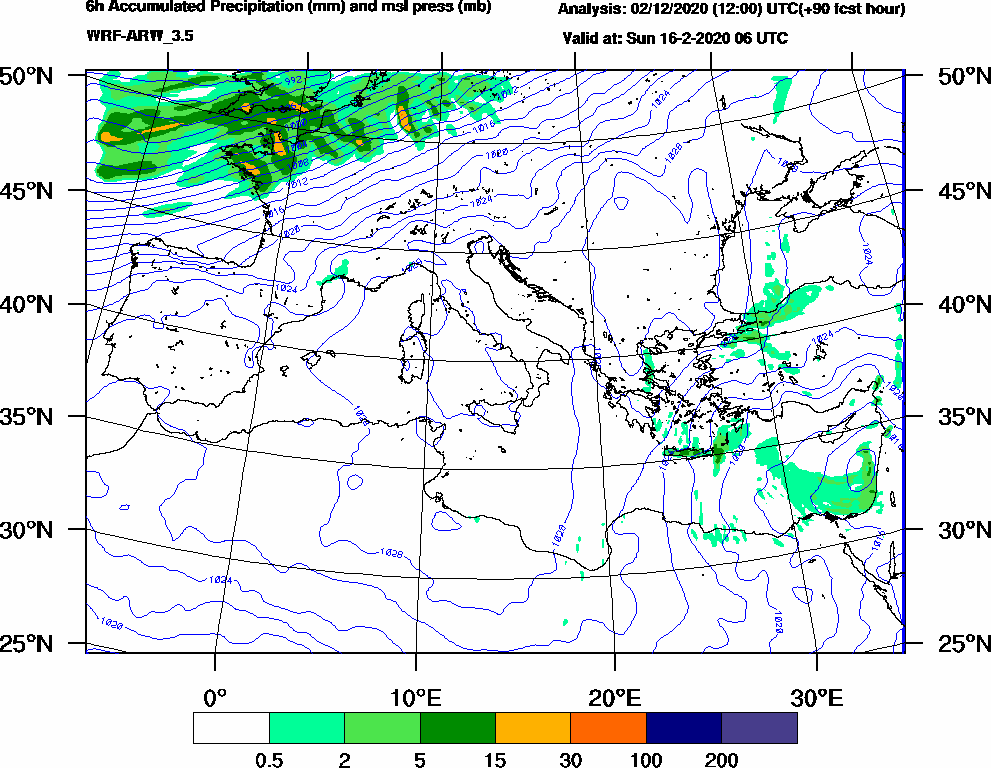 6h Accumulated Precipitation (mm) and msl press (mb) - 2020-02-16 00:00