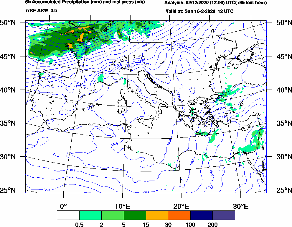 6h Accumulated Precipitation (mm) and msl press (mb) - 2020-02-16 06:00