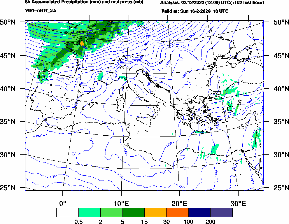 6h Accumulated Precipitation (mm) and msl press (mb) - 2020-02-16 12:00