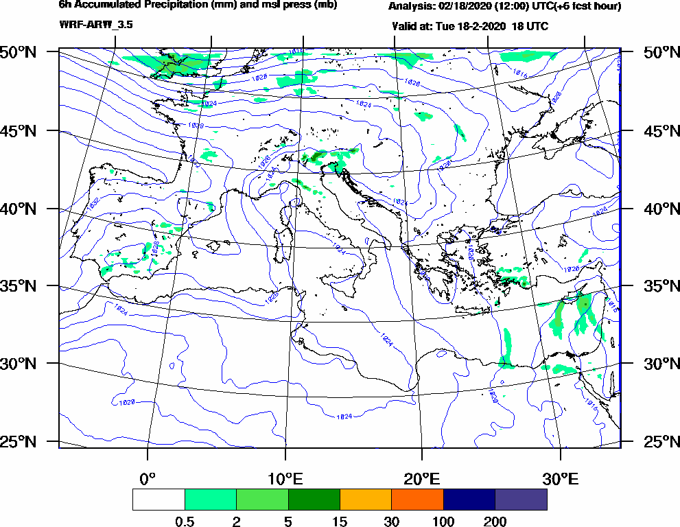 6h Accumulated Precipitation (mm) and msl press (mb) - 2020-02-18 12:00