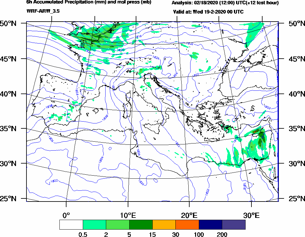 6h Accumulated Precipitation (mm) and msl press (mb) - 2020-02-18 18:00